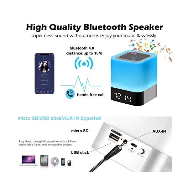 Enceinte Haut-parleur Bluetooth Portable Lampe de Chevet LED avec Contrôle Tactile, Lampe de Table Couleur Changeant la Lumière de Nuit avec le Réveil pour la Chambre 4
