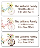 Personalized Return Address Labels - Bicycle and Flowers Design - 120 Custom Gift Stickers