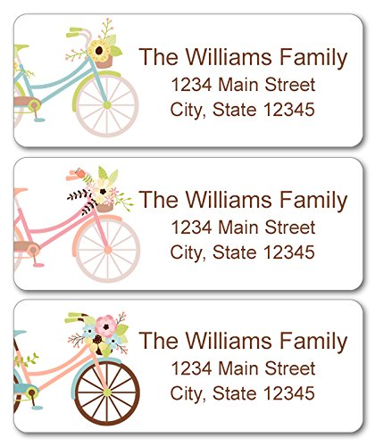 Personalized Return Address Labels - Bicycle and Flowers Design - 120 Custom Self-Adhesive ()