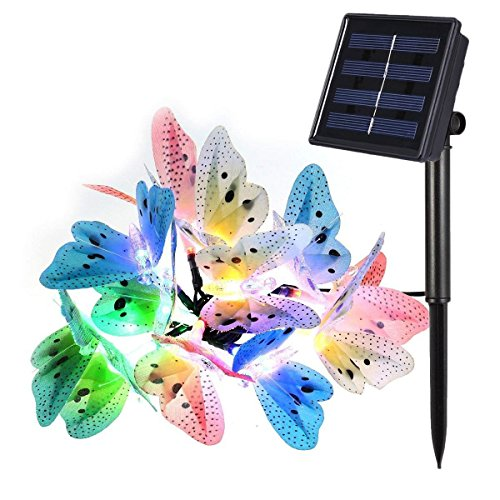 LAFEINA Butterfly Solar String Lights, 12 LED Fiber Optic Multi-Color Beautiful Butterfly Fairy Lights for Outdoor Garden, Lawn, Patio, Yard, Wedding, Party, Decoration