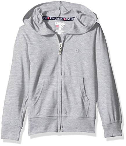 Limited Too Girls' Long Sleeve Zip Front Jersey Hoodie,Heather Grey,4 by Limited Too