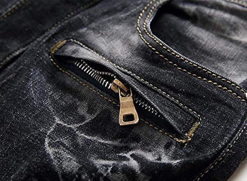 GreatestPAK Vintage Jeans męskie spodnie z zamkiem błyskawicznym, denim, plisowane, do prania, praca, strzępione spodnie podstawowe: Odzież