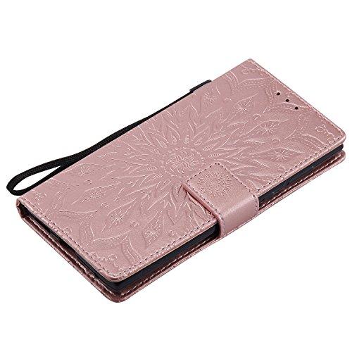 Funda para SONY Xperia E6/L1, MAGQI Suave PU Cuero Cartera Cubierta Repujado Mandala Girasol Stand Función Flip Libro Estilo Protección Shell con Imán Cierre Ranuras de Tarjeta-Rosa Oro rosa