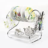2 Tiers Kitchen Dish Cup Drying Rack Holder Organizer Drainer Dryer Tray Cutlery by Dish Racks