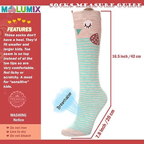 Girls Socks - Little Girls Long Socks Cartoon Animal Knee High Cotton Stockings
