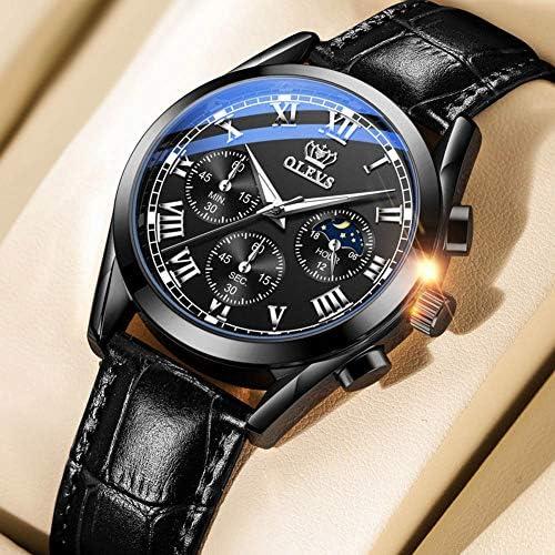 OLEVS Men Watch Chronograph Leather Strap Multifunction Moon Phase Quartz Sport Dress Luminous Waterproof Wrist Watch WeeklyReviewer