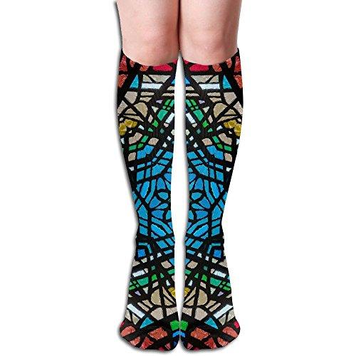 Long Stocking Kaleidoscope Backgroud Women's Over Knee Thigh Winter Warm Sexy Stocks Knitting Welt