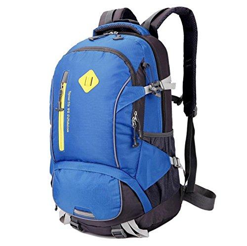 LINGE-Al aire libre impermeable montañismo Bolsa deporte viaje bolso bandoleras para hombres y mujeres a pie casual mochila de 40L , red Blue