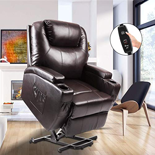 Power Lift Recliner, Fitnessclub, Electric Massage Recliner Sofa Full Body, Zero Gravity, Leather Lazy Boy Recliner with Remote Controller for Elderly, Father and Mother, Brown
