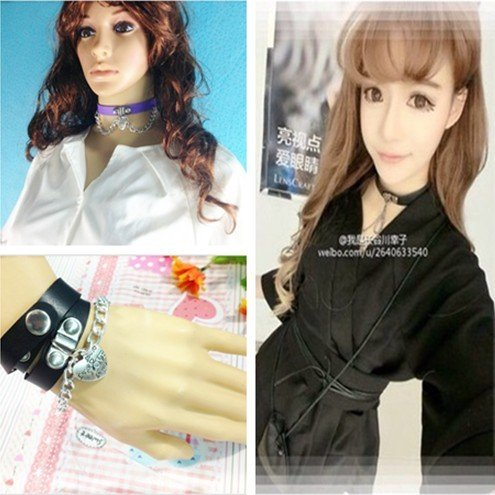 Jaese Street beat hair soft sister hard sister punk leather necklace love peach heart bracelet with a (Fang Leather Necklace)