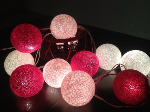 My Fairy lights Cotton Ball String Lights 20 Pink Tone Fairy String Lights Wedding Hanging Party Bedroom Fairy Lights Indoor String (Pink String Lights)