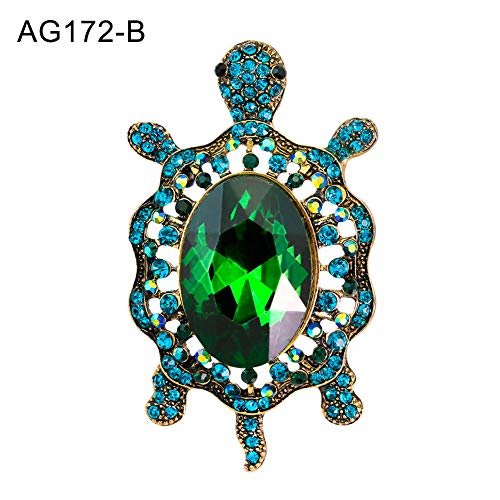 (CHoppyWAVE Enamel Brooch Pin,Fashion Enamel Cartoon Turtle Rhinestones Faux Gem Inlaid Brooch Pin Jewelry - AG172-B)