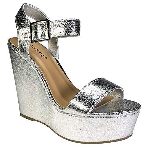 (BAMBOO Women's Single Band Wedge Platform Sandal with Quarter Strap, Silver, 8.0 B US)