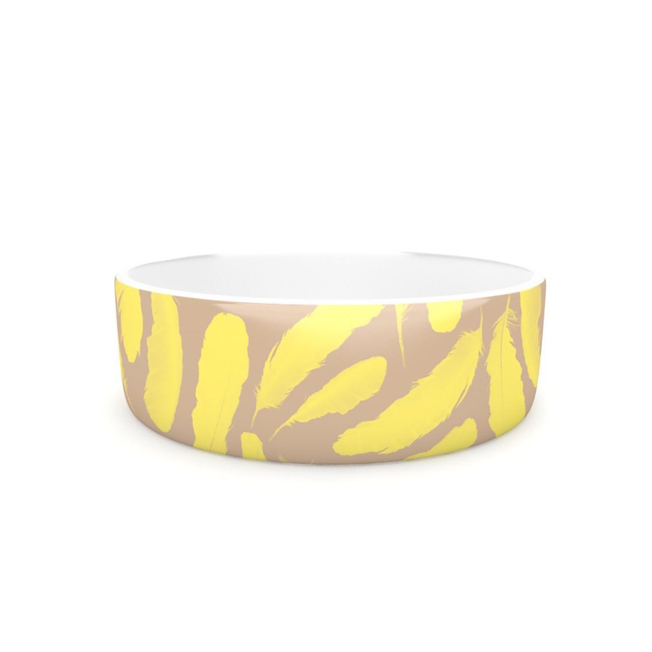 Kess InHouse Skye Zambrana Yellow Feather  Pet Bowl, 7-Inch, Tan gold