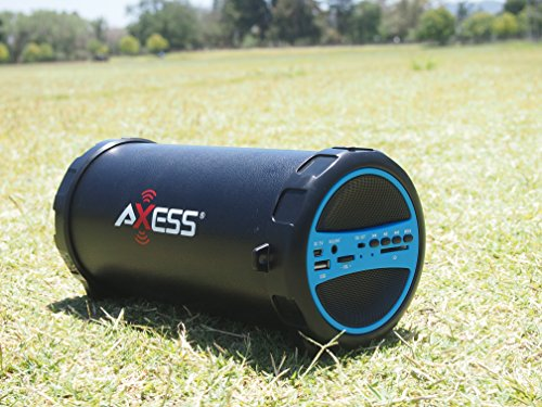 AXESS SPBT1031BL Portable Bluetooth Indoor/Outdoor 2.1 Hi-Fi Cylinder Loud Speaker with Built-In 3″ Sub and SD Card, USB, AUX Inputs in Blue