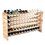 6 Tier 72 Bottle Pinewood Wine Rack Natural Display Storage Shelves