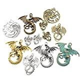 100g (20pcs) Craft Supplies Mixed Flying Dragon Charms Pendants Beads Charms Pendants for Crafting, Jewelry Findings Making Accessory For DIY Necklace Bracelet M15 (Dragon charms)