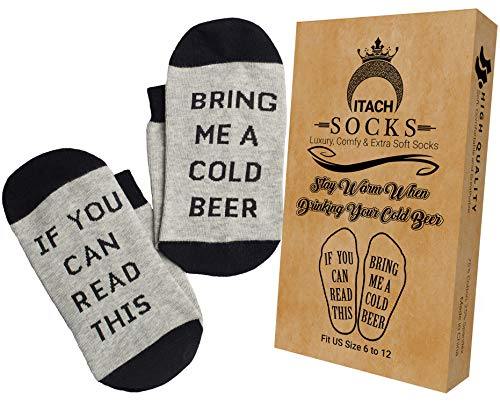 Funny Novelty Socks-If You Can Read This Bring Me a Cold Beer-Black and Gray