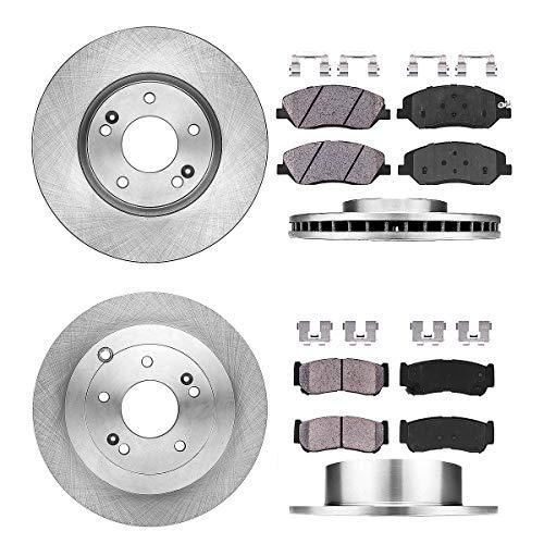 FRONT 298 mm + REAR 302 mm Premium OE 5 Lug [4] Rotors + [8] Quiet Low Dust Ceramic Brake Pads + Clips