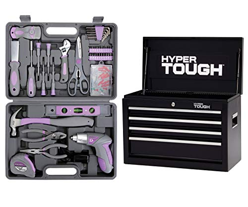 Hyper Tough 44-Piece Home Repair Tool Kit In Blow Mold Case bundle with Hyper Tough 4-Drawer Tool Chest with Ball-Bearing Slides in 26