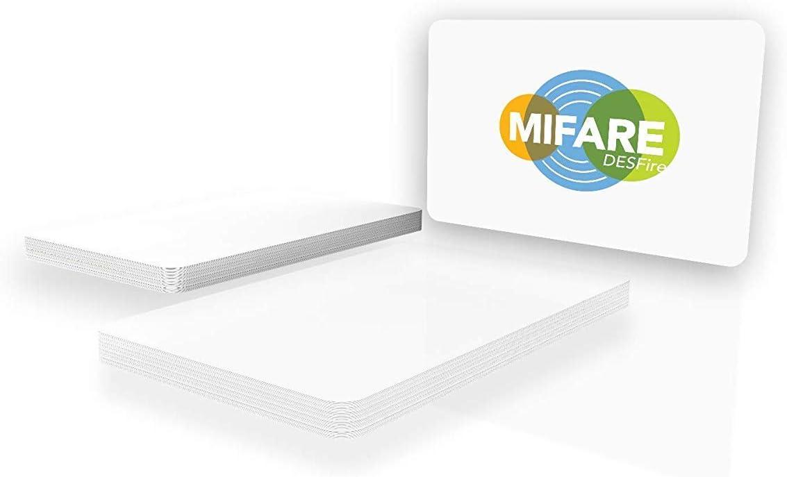 Gloss Finish 10 ISO14443A NXP MIFARE DESFire EV2 8K 13.56MHz Blank White ISO PVC Cards