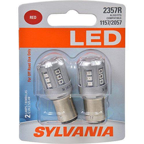 SYLVANIA - 2357 LED Red Mini Bulb - Bright LED Bulb, Ideal for Stop and Tail Lights (Contains 2 Bulbs)