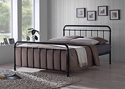 Delightful New Traditional Hospital Style 5ft King Size Black Metal Bed Frame By Stag  Stores