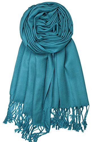 (Achillea Large Soft Silky Pashmina Shawl Wrap Scarf in Solid Colors (Teal) )