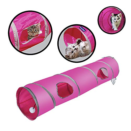 PetLike Cat Tunnel Pop-up Collapsible Pet Tube Interactive Play Toy with Ball (Peek Tube)