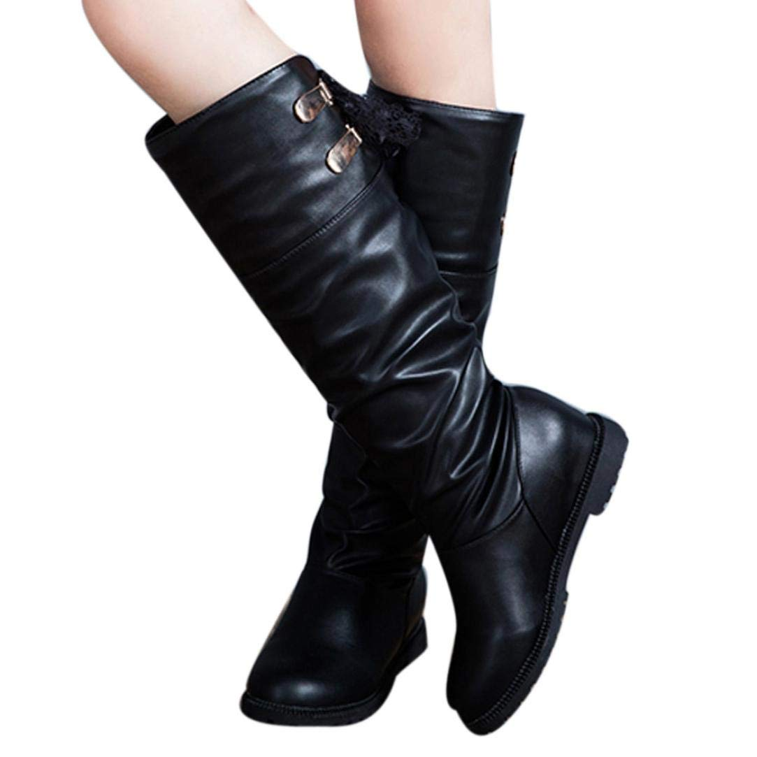 Hemlock Women Knee High Boots Soft PU Leather Boots Shoes Winter Snow Boots Wedges Booties Shoes
