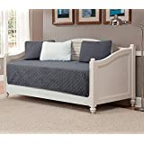 5pc Daybed Cover Set Reversible Embossed Bedspread Charcoal Dark Grey/Silver Light Grey New