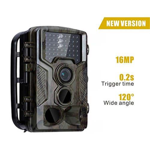T-Tech-Electronic 2017 Upgraded HD Wildlife Camera Train & Game Home Security, Infrared Scouting Cameras 16Megapixel 1080P Night Vision up to 65ft 46pcs IR LEDs PIR 120 Degree IP56 Waterproof