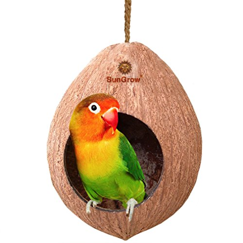 Natural Coconut Shell Bird House - Treat Dispenser Home - Encourages Foot and Beak Exercise - 100% Natural Coconut Husk - Durable & Sturdy - Habitat for Small & Medium Pets - Includes Hanging Loop