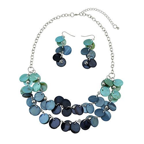 BOCAR Multilayer Shell Statement Necklace for Women (NK-10248-blue)