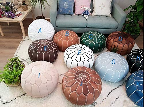 Gallery Crafts Moroccan Premium Luxury Pouf - 100% Real Genuine Goatskin Leather - Bohemian Living Room Decor - Hassock & Ottoman Footstool-Unstuffed - Includes Stuffing Instructions (Tan)