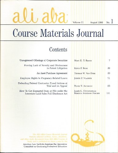 ALI-ABA Course Materials Journal Volume 11, August 1986, No. 1
