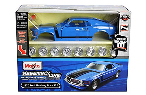 Die Car Model Kits Cast - HCK 1970 Ford Mustang BOSS 302 - Assembly Model Kit Diecast Toy Cars 1:24 Scale