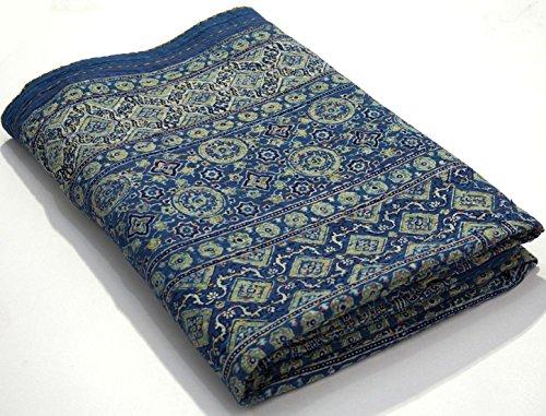 The Ethnic Crafts Hand Block Print Kantha Quilt Ajrakh Kantha Bedspread Indigo Print Queen Size, 90x108 Inche Vegetable Dye Ajrakh Kantha Quilt (Cotton Quilt Block)