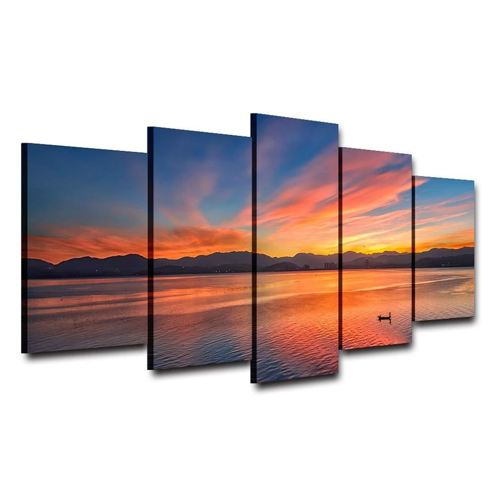 KDLLK Arte de la pared Hd Imprimir Imprimir Imprimir imágenes Home Decor Poster Marco 5 Panel Lake Sunset Fire Cloud Hermoso paisaje Moderno Salón Pintura 2849af