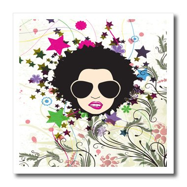 3dRose ht_119075_1 Urban Grunge Pop Art Floral Bliss Attitude Diva Girl with Afro & Shades Modern Vector Art Iron on Heat Transfer Paper for White Material, 8 by (1 Attitude Tees)