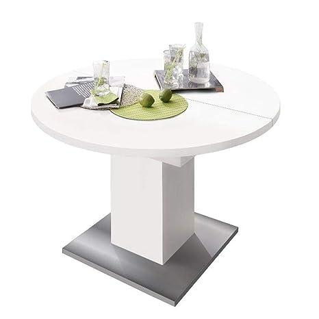 Tisch Rund Zum Ausziehen.Esstisch Rund 0588 104 Weiss Matt Edelstahloptik