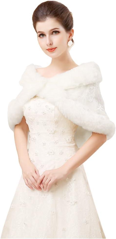 Inverno elegante ricamo Furry cappotti Capelets scialli da sposa damigella d onore Tippet capo spalla avvolge Dress Coat per le donne bianco