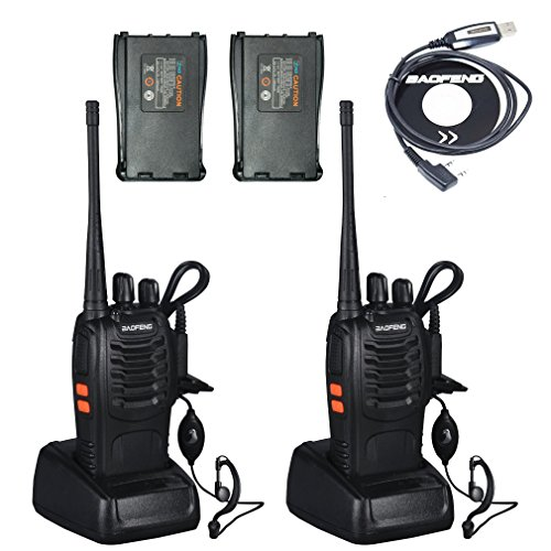 BaoFeng BF-888S 2 Way Radios UHF Radio 400-470MHz 3W 16CH Walkie Talkies with Earpiece and Additional 2 Backup Batteries and One USB Programming Cable(2 Pack)