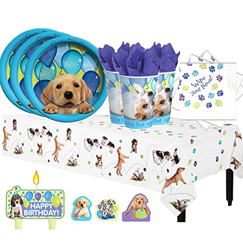Puppy Dog Birthday Party Pack for 16 with Plates, Napkins, Cups, Tablecover, and (Dog Birthday Decorations)