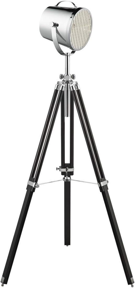 – Foco de metal, cromo, negro, altura 150 cm, E27 max. 60 W, Lámpara de pie pie salón lámpara: Amazon.es: Iluminación
