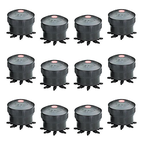 PEPCO Wholesale Octa Bubbler 8 Outlet Water Drip Feed Irrigation, 12 Piece, Red