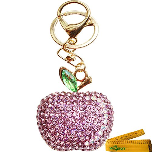 Bling Bling Crystal Rhinestone Graven 3D Cubic Apple Shaped Metal Keychain Car Phone Bag Purse Decoration Holiday Gift (Purple)