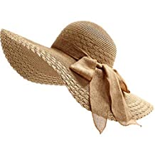Moollyfox Womens Folding Floppy Derby Sun Hat Wide Large Brim Bow Beach Sun Cap