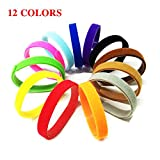 Librao 12pcs Puppy ID Collar Band Pet Dog Whelping Newborn Kitten Adjustable Collars 7.9inch