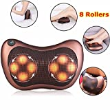 Premium Massage Pillow with Heat Balls and Car Adapter, Neck Massager Shoulder Massager Back Massager for Home, Office and Car Use Electronic Massage Pillow Massager Cushion Car Lumbar Neck Back Shoulder Heat Pillow Deep Kneading Massager Relax Pain Back Pillow for Car Home Office Massager